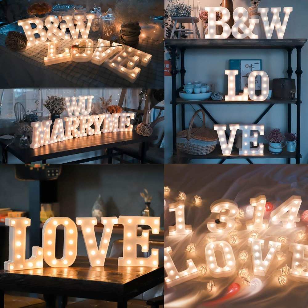 26 Letters White LED Night Light Marquee Sign Alphabet Lamp For Birthday New Year Valentine's Day Decoration