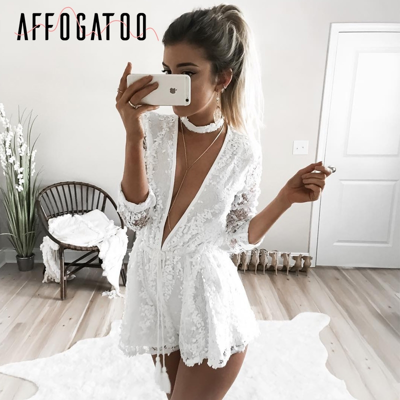 Affogatoo Sexy deep v neck sequined   jumpsuit   romper Elegant party club short playsuit Women halter long sleeve white overalls