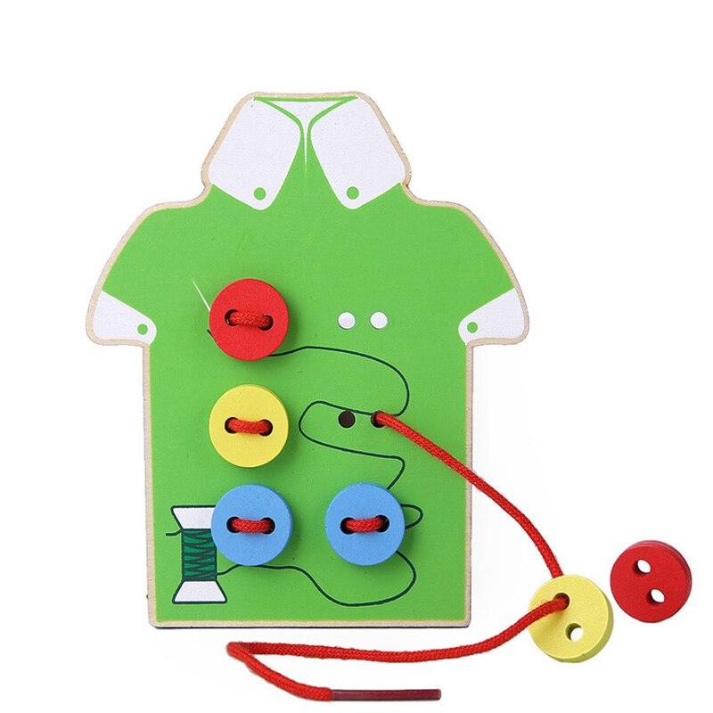 Montessori Education Wooden 2 Colors Wear The Button Basic & Life Skills Toys Threading Board Beaded Blocks Child Birthday Gift