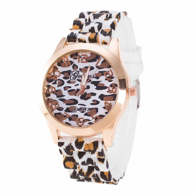 Женские наручные часы с леопардовым принтом zegarek damski A2 кварцевые силиконовым