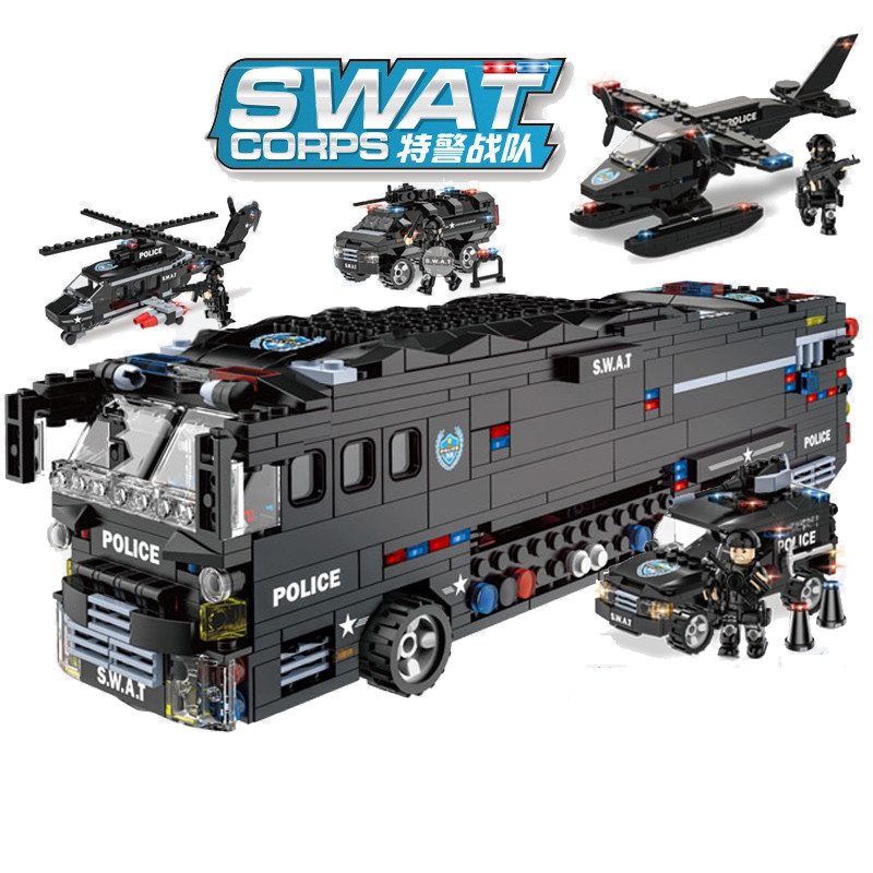 1092pcs Children's building blocks toy Compatible Legoingly city 6 in 1 mobile combat bus DIY figures Bricks boy gift-in Blocks from Toys & Hobbies    1