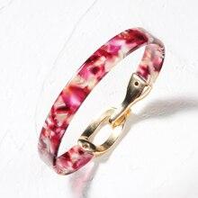Acetate Alloy Metal Buckle Bangles for Women Urban Fashion Bangle Classic Vintage Jewelry Designer Bracelets Luxury