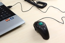 USB Wired PC Laptop Finger HandHeld Trackball Mouse Mice w/ Laser Pointer