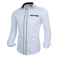 2017 Spring New Simple Fashion Men Clothes Slim Fit Long Sleeve Shirt White With Business Shirts