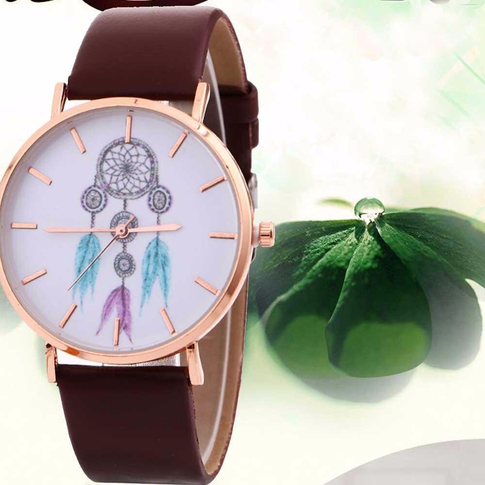 Las mujeres relojes de moda viento patrón de las señoras reloj de pulsera de cuarzo de vaquero de cuero distintivo reloj relojes para mujer H2