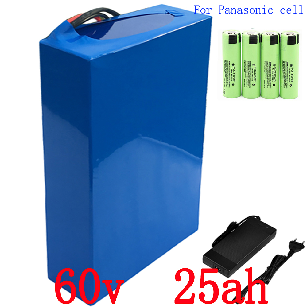 Free customs tax 60v 25ah 3000w for Panasonic cell lithium ion bicycle electric scooter battery for kit electric bike free customs taxes electric bike 36v 40ah lithium ion battery pack for 36v 8fun bafang 750w 1000w moto for panasonic cell