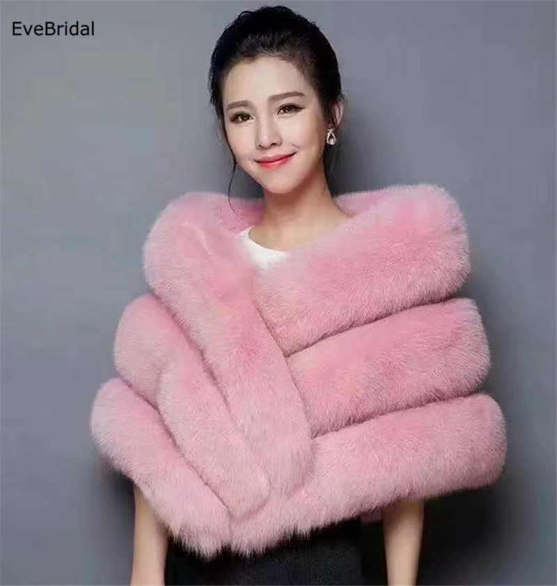 Купить с кэшбэком Faux Fur Wedding Bridal Shawl Winter Wrap Prom Shrug Bolero Cape Jacket Coats No1595