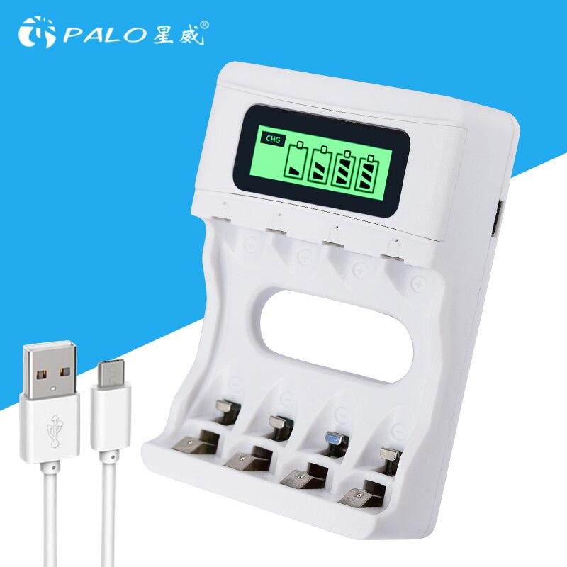 HEIßER! Intelligente 4 Steckplätze Intelligente LCD Ladegerät Aufladbare USB Ladegerät Für AA/AAA NiCd NiMh Akkus