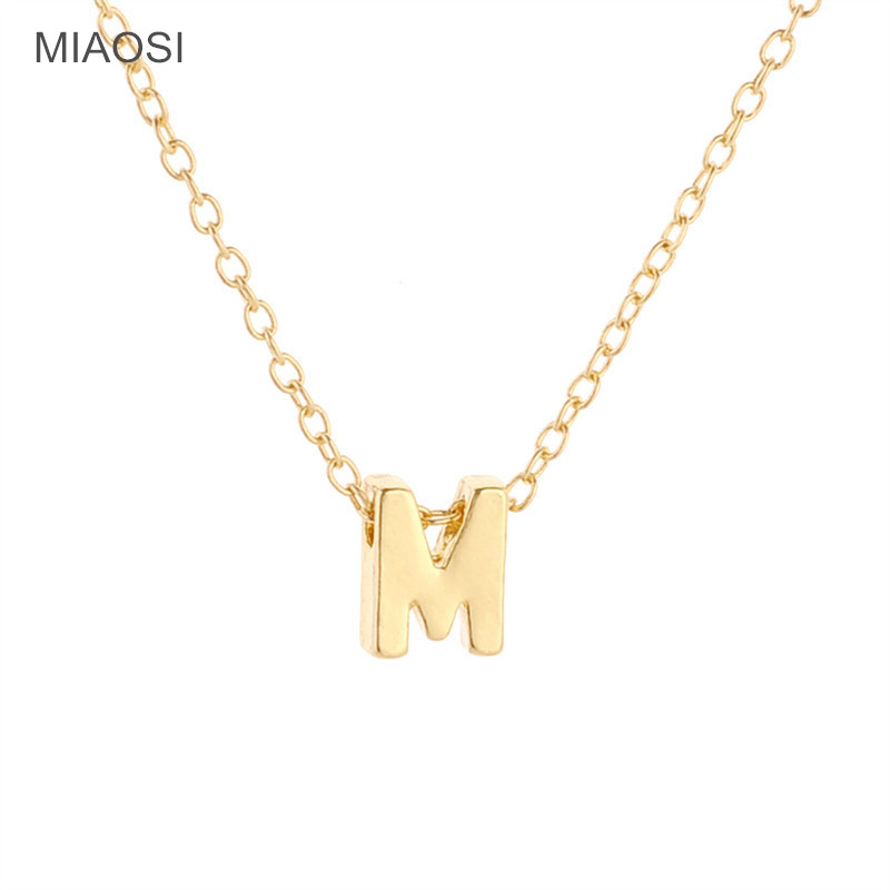 necklace circle pendant women silver for jewelry initial wholesale capital letter gift gold color chain her product name key m alphabet