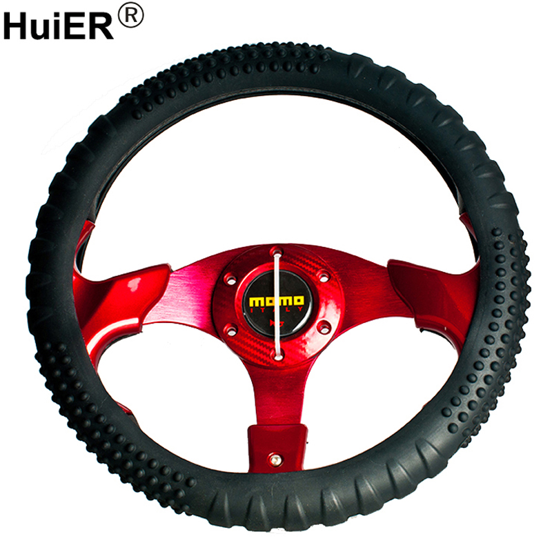 HuiER Silicone Environmental Protection Car Steering Wheel Cover Anti-slip 36-40CM Car Styling Steering-wheel Cover Car-Covers