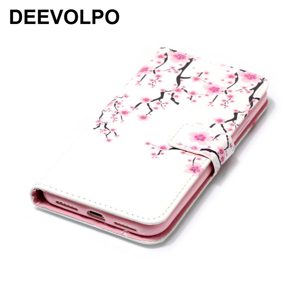 DEEVOLPO Leather Cases Flowers Lady Phone Bags For iPhone 8 7 6 6S Plus 5 5S SE 8+ 7+ 6+ Colored Painted Butterfly Fundas DP10Z