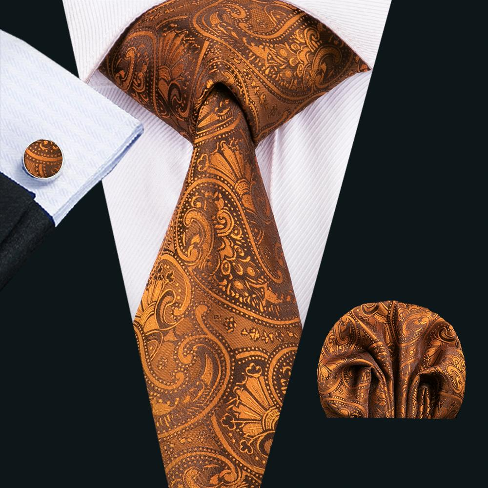 FA-1551 New Arrive Fashion Ties For Men Orange Paisley Jacquard Woven Necktie Hanky Cufflinks For Wedding Party Freeshipping