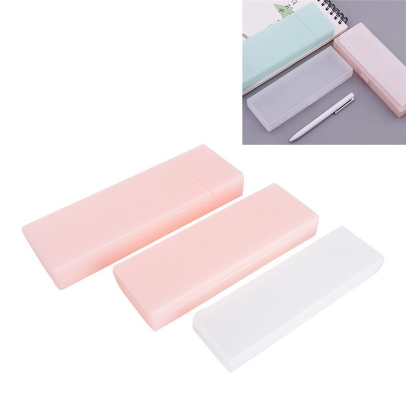 1Pc Pencil Case Cute Clear Pencil Case Transparent Plastic Pen Box Kids Office School Supplies