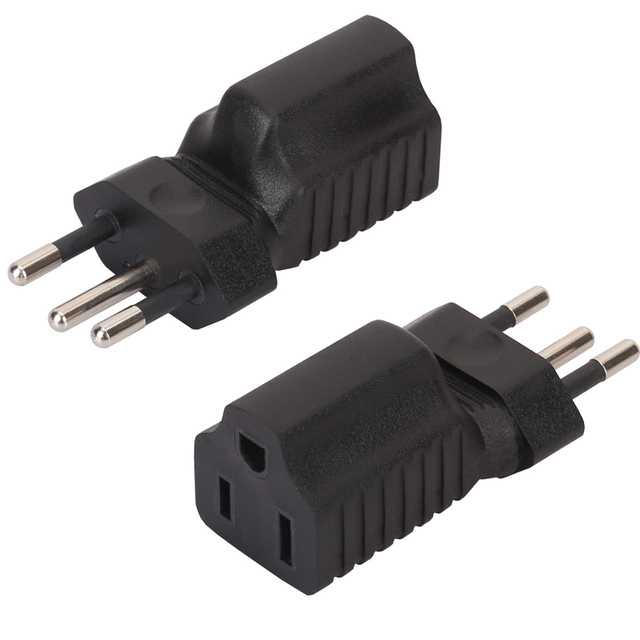 1pc Brazil Male To Universal Us 5 15r Female Plug 3 Round Adapter Travel