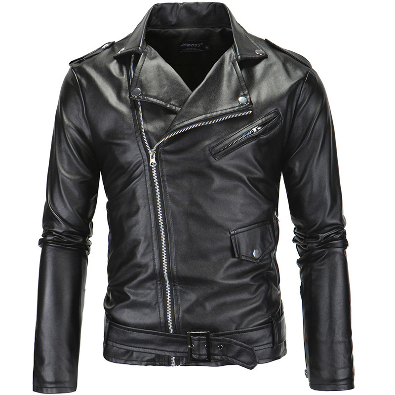2019 Spring Autumn Pu Leather Men Jackets Long Sleeve Turn Down Collar Slim Zipper Faux Leather Coat Men Lr287