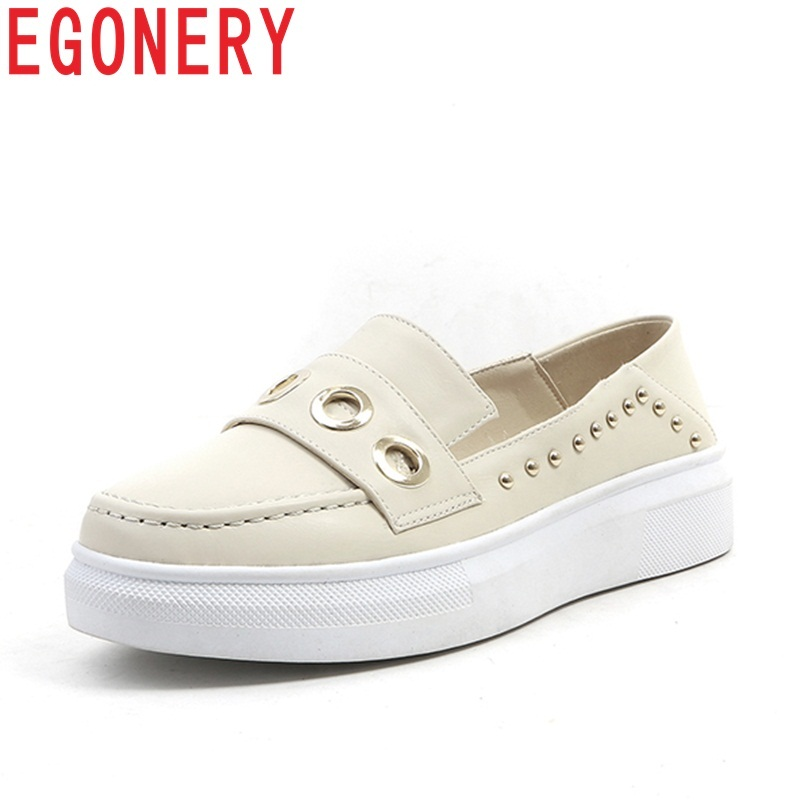 EGONERY 2018 new style fashion pu metal decoration round toe slip-on concise leisure bla ...