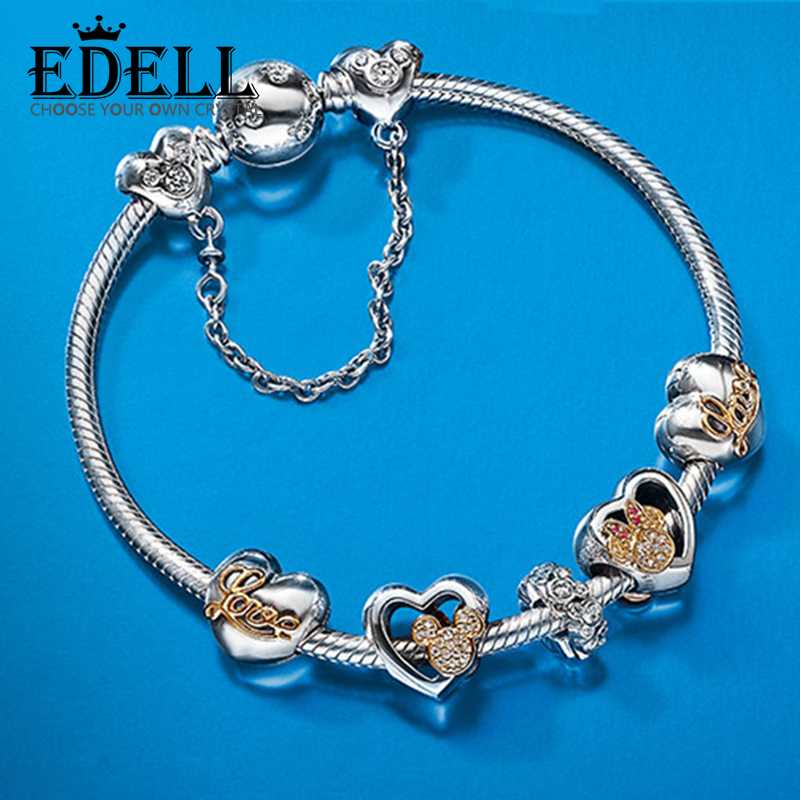 EDELL Hot Sell European Style Silver Crystal Charm Bracelet for Women Murano Glass Beads Jewelry Sterling Silver Guarantee mixza rotating metal usb flash drive usb 4gb 8gb 16gb 32gb 64gb 128gb flash drive usb stick usb 2 0