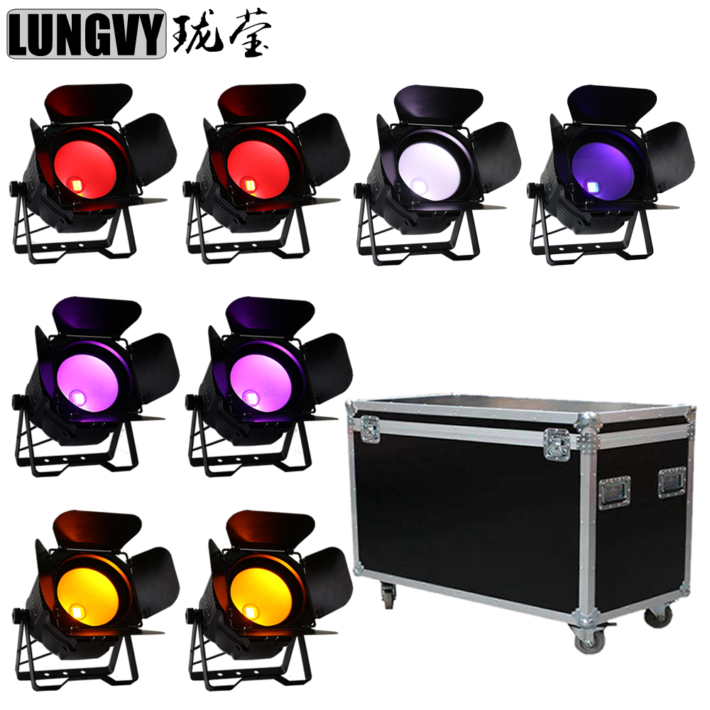 Free Shipping 8pcs/Lot With Flight Case 200W 6In1 RGBWA UV COB Led Par Light Led Can Light For Disco Stage Bar Club
