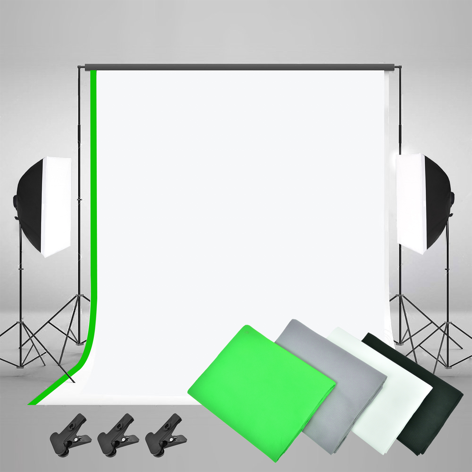 Image 2 - ZUOCHEN 3375W Photo Studio Continuous Lighting kit Softbox Boom arm 4 Background & Stand-in Photo Studio Accessories from Consumer Electronics