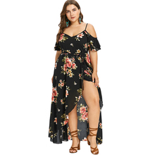 цены Women Summer Plus Size 5XL Cold Shoulder Floral Overlap Dress Spaghetti Strap Half Sleeves Floral Print Beach Dress Robe Vestido