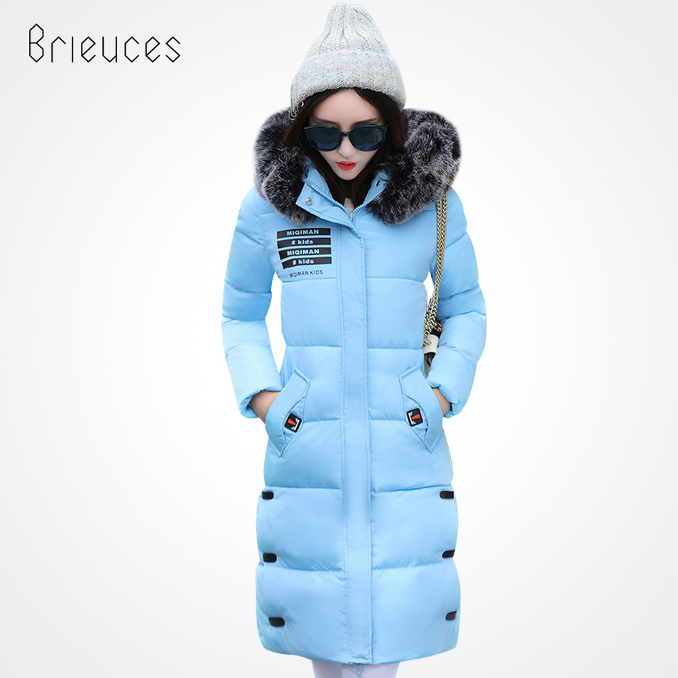 winter Brieuces jacket solid hooded keep warm long letter Print large faux fur collar loose plus szie fashion winter coat women plus size letter print hooded sweatshirt dress
