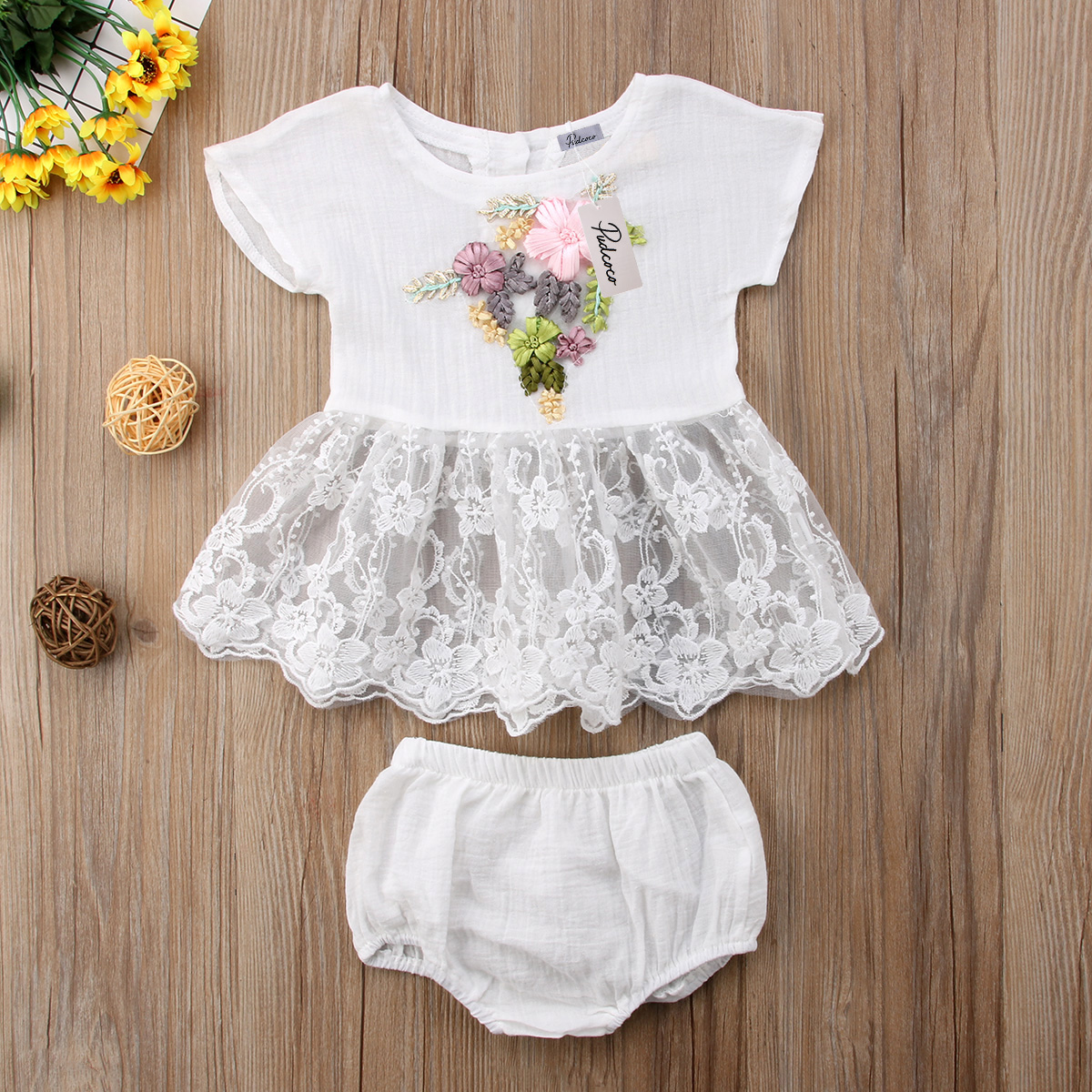 Pudcoco Newborn Kids Baby Girl Embroidery Lace Floral Outfits Top Dress+Shorts Pants 2PCS Summer Clothes Set 3pcs set newborn infant baby boy girl clothes 2017 summer short sleeve leopard floral romper bodysuit headband shoes outfits