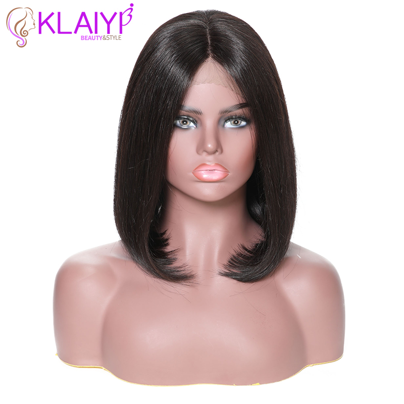 Klaiyi Hair Straight Bob Human Hair Wigs 8-14 Inch Pre Plucked Brazilian Remy Hair 13*6 Lace Front Wig 150% Density #1#2#4