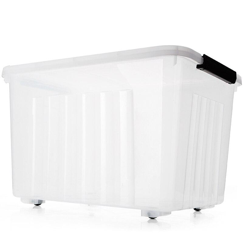 Vente chaude Transparent Bin En Plastique Grand Boîtes De Rangement Livre Roues Literie Vêtements Organisateur Rectangle Écologique 120l Brillant