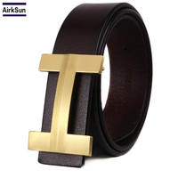 2017 Fashion Men Belt Solid Copper H Buckle Cowhide Leather Young Male Pure Genuine Leather Belt