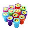 12 Pçs/lote Miúdos Dos Desenhos Animados Emoji Sorriso Rosto Selos Stampers Crianças Desenho Suprimentos Brinquedos Melhor Presente Atacado