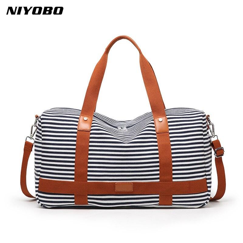 NIYOBO New Women Travel Bag Handbag Portable Luggage Duffle Bag Striped Canvas Female Shoulder Bag Beach Bag Weekend Tote