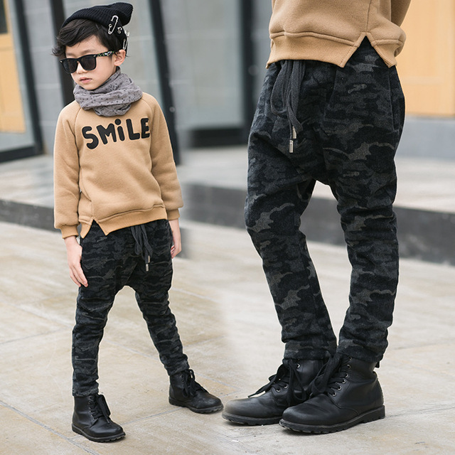869493adc4ee6 boy fashion wear camouflage with cloth with soft nap of jeans Big child  with sweat pants Winter pants order wholesale