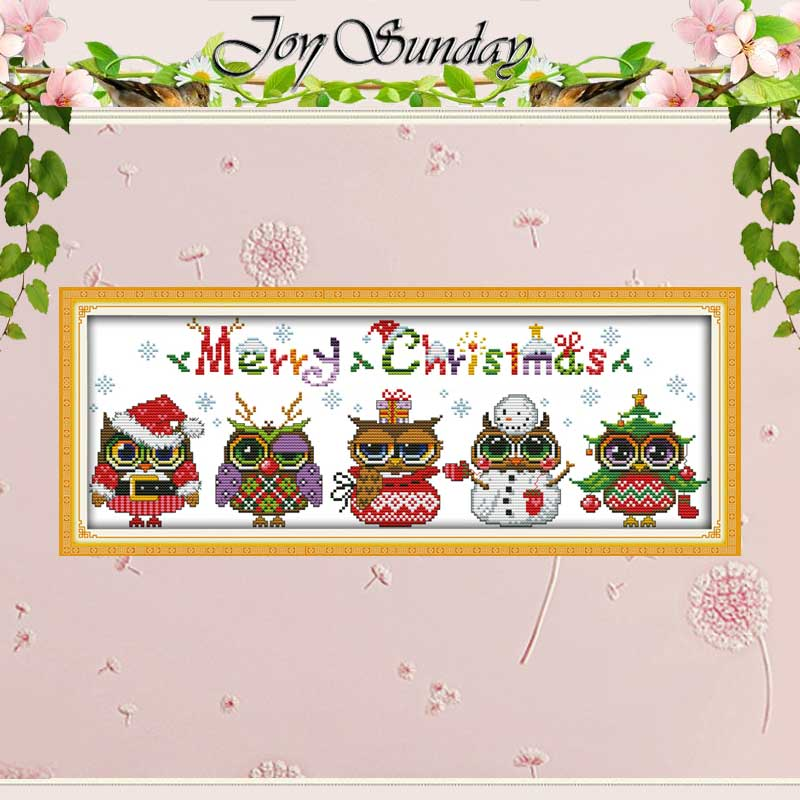 Kerst uilen patronen geteld Cross Stitch Cartoon Cross Stitch 11CT 14CT Cross-Stitch Kit handgemaakte borduurwerk voor handwerken