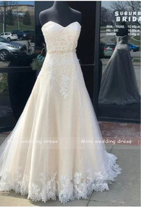 Image 2 - Sweetheart Neck Wedding Dresses Lace Appliqued Tulle Sleeveless Bridal Gowns A Line Backless Vestido De Noiva 2019