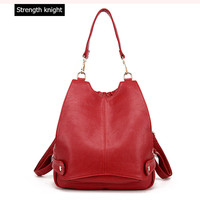 Luxury Brand Women Leather Backpack Fashion School Bag For Girl Female Leather Shoulder Bag Mochilas Mujer