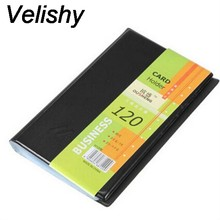 Velishy 1PC Men Women Simple Unisex PU Leather 120 Business Card ID Card Holders Book Case Solid Black Wallets & Holders(China)