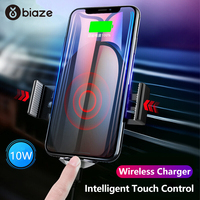 Biaze Touch Control Qi Wireless Charger Car For iPhone Xs Max Samsung Intelligent Sensor Fast Wireless Car Charger Phone Holder