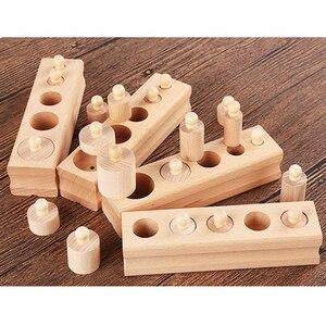 Image 5 - على بيع الروسية مستودع ألعاب خشبية مونتيسوري التعليمية اسطوانة المقبس كتل لعبة طفل تطوير الممارسة والحواس