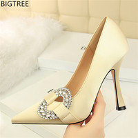 Fashion Women's High Heel Stiletto Scarpins Classic Crystal Satin Pumps Sexy Pointed Toe Female Silk Party Wedding Shoes
