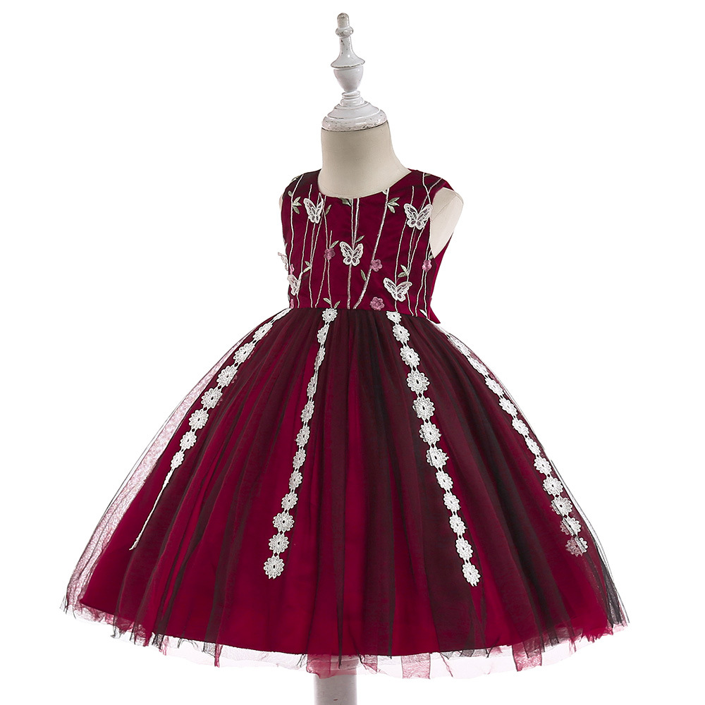 2019 Fashion   Flower     Girl     Dresses   for Wedding Party Elegant Burgundy Gown Tulle   Dress   with Embroidery Lace Appliques
