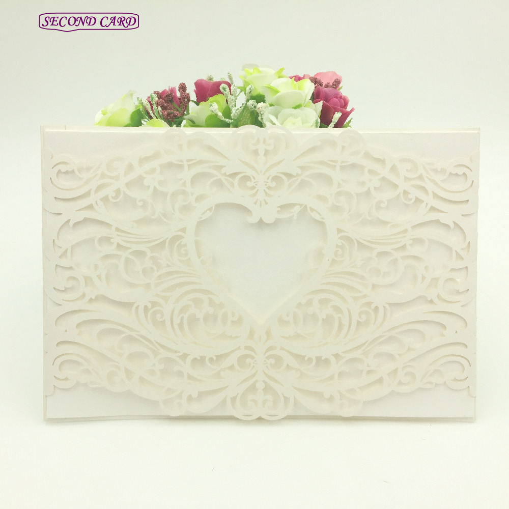 10pcs Set Laser Cut Love Heart Vine Lace Wedding Invitation Card Favors And Gifts For Guests Supplies In Cards Invitations From