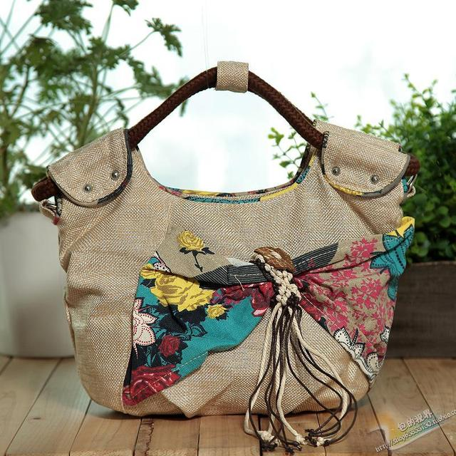 New 2016 Fashion Tassel Women's Handbag National Trend Tote Bag Vintage Linen Shoulder Bag Messenger Bag Hot Sale bolsa feminina