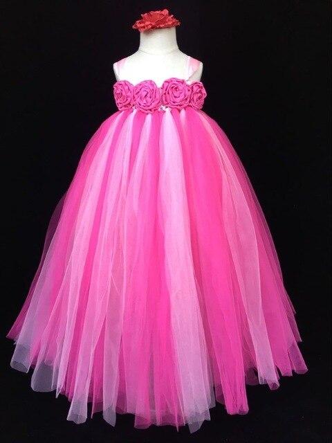 Baby Mädchen Rosa Blume Tutu Kleid Kinder Häkeln Tulle Kleid Lange