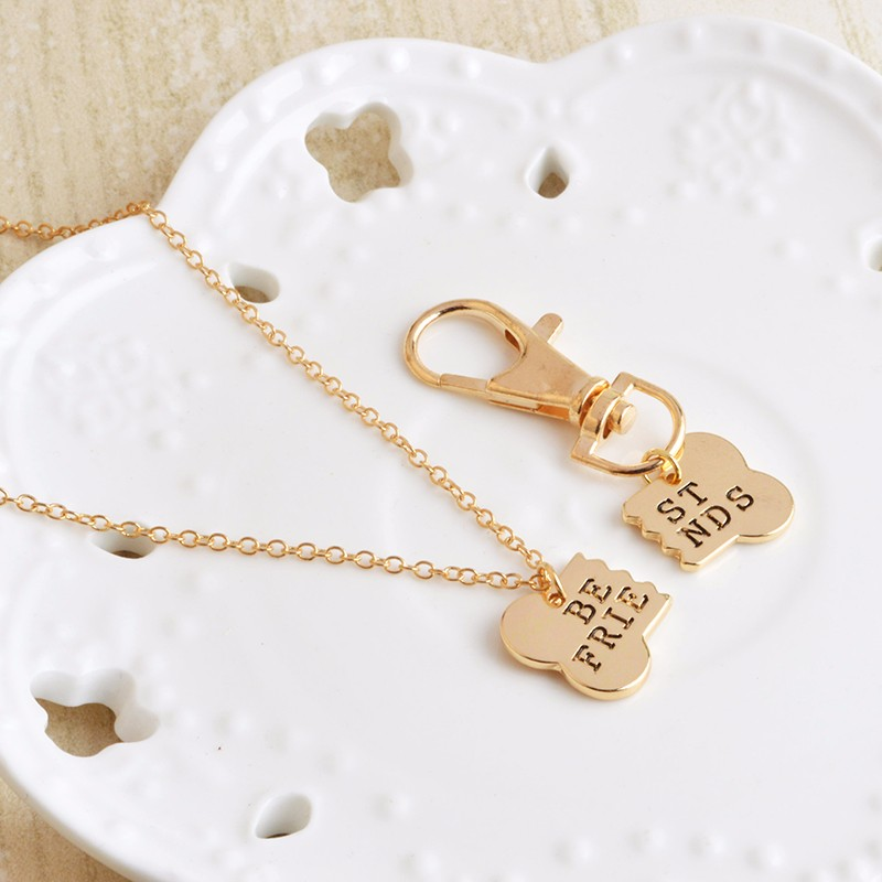 BFF & EVER Necklace & Collar Tag - Gold/Silver Pendant 2 Pcs/Set