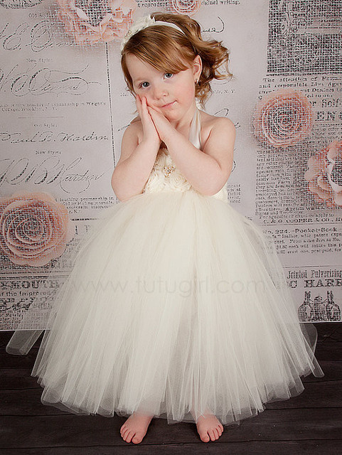 Handmade Ivory Flower Girl Dress Girls Party Tutu Dress Toddler ...
