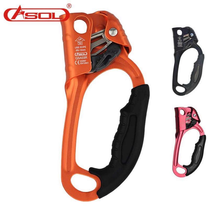 Brand ASOL Professional Outdoor Rock Climbing Handheld ascenders mountain climbing equipment climbing tools 3 claw grappling hook outdoor carabiner rock climbing mountain gear