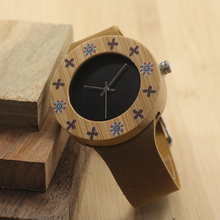 BOBOBIRD Brand I16 Fashion UV Priting Bamboo Women's Watch Soft Leather Band Japan Quartz Watches As Best Gift For Women Relogio