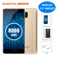 OUKITEL K8000 Android 7.0 5,5 zoll Handy MTK6750T Octa-core 4 GB RAM 64 GB ROM 8000 mAh 13.0MP + 16.0MP Hinten Kameras Handy