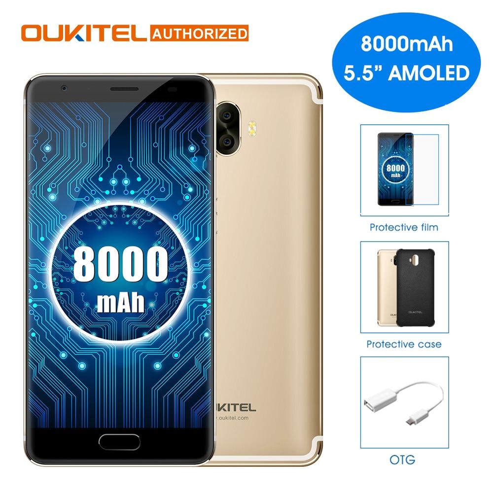 OUKITEL K8000 <font><b>Android</b></font> 7.0 5.5 inch Mobile <font><b>Phone</b></font> MTK6750T Octa Core 4GB RAM 64GB ROM 8000mAh 13.0MP+16.0MP Rear Cameras Cellphone