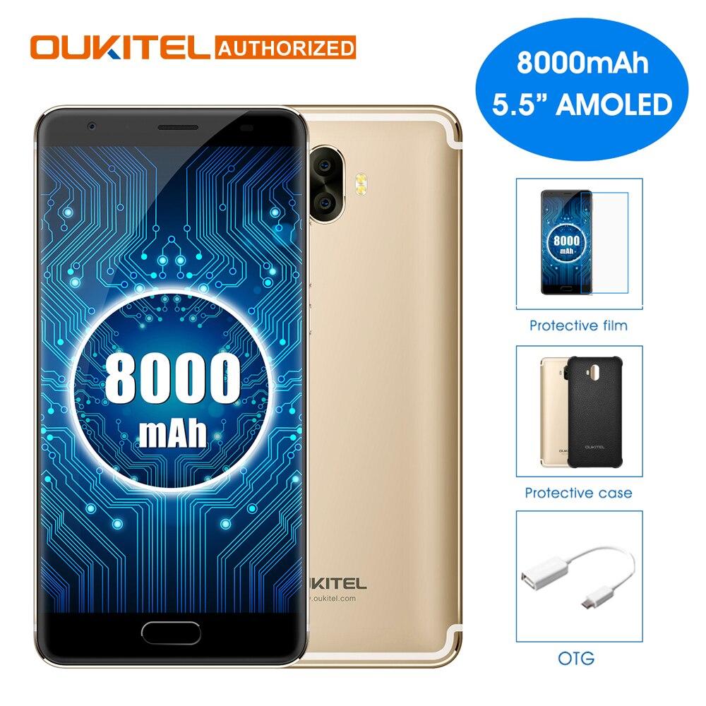 OUKITEL K8000 Android 7.0 5.5 'Mobile Téléphone Octa Core 4 GB 64 GB 8000 mAh 13.0MP + 16.0MP Arrière Caméras téléphone portable Avant Tactile ID Déverrouiller